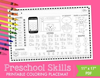 Preschool Skills Coloring Placemat - Girl