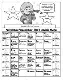 Preschool Snack Menu Calendar Editable Precious Preschoolers