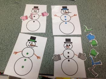 Preschool Snowmen Color Match