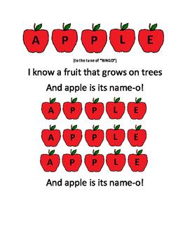 Preschool Song- Apple Printable Freebie