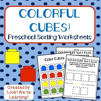 Preschool Sorting Worksheets Colorful Cubes By Look Were Learning