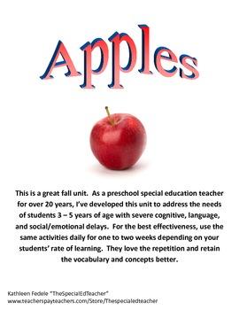 Preschool Special Ed Thematic Unit: Apples - Language delayed, Autism, Etc.