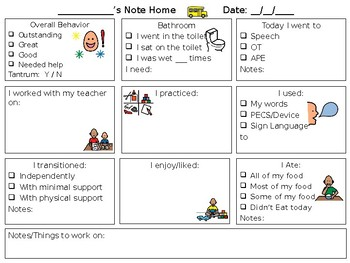 Preschool Special Education Daily Communication Note (Editable)