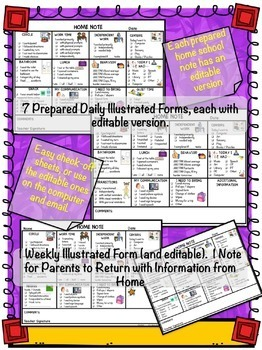 Parent Communication Notes for Preschool Special Education: Editable Included