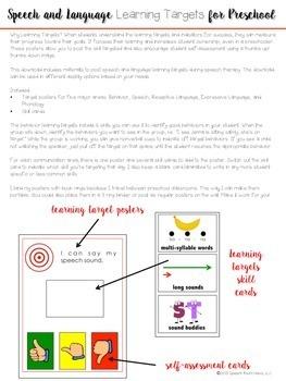 Preschool Speech & Language Learning Targets (I can statements)