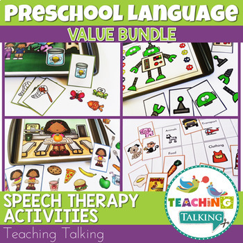 Distance Learning Speech Therapy Preschool Language Activities Bundle