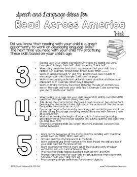 Preschool Speech and Language Parent Handout for Read Across America Week