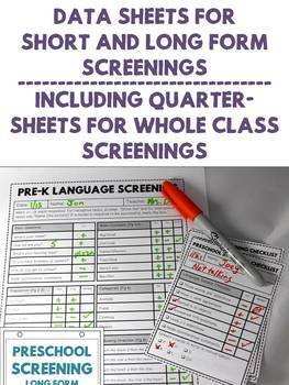 Preschool Speech & Language Screening Kit - No Print and Flip Book