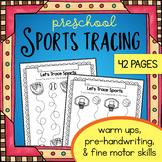 Preschool Sports Theme Tracing Worksheets - Trace Handwriting Warm Ups baseball