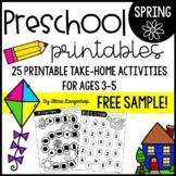 Preschool Spring Theme Printable Worksheet Activities FREE SAMPLE