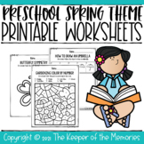 Preschool Spring Theme Printable Worksheets