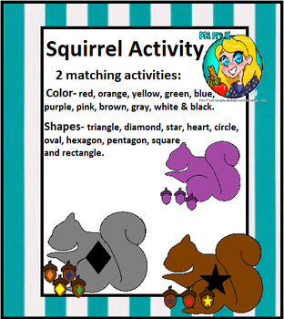 Preschool Squirrel Matching Activities- Color and Shapes