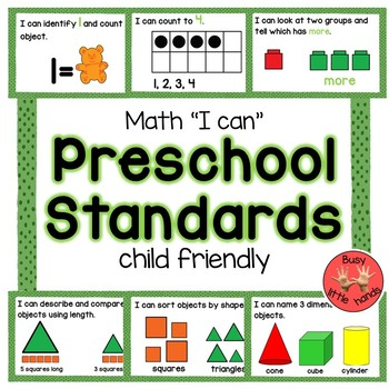 Preschool Math Standards (child friendly)