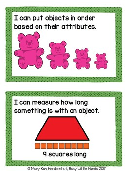 Preschool Math Standards (child friendly)