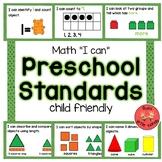 Math Standards for Preschool (child friendly)