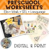 Preschool Worksheets ELA Math SEL and Language