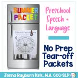 Preschool Summer Speech & Language Packet: Tear Off, No Prep