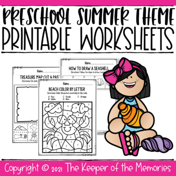 Preschool Summer Theme Printable Worksheets