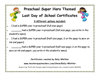 Preschool- Super End of School Year Super Hero Certificates