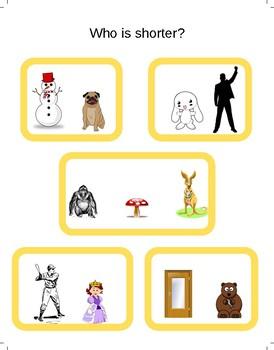Preschool Taller/Shorter Worksheets