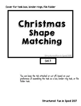 Preschool Task Box Christmas Identical Match Set 3 (Shapes) Cards 5x7
