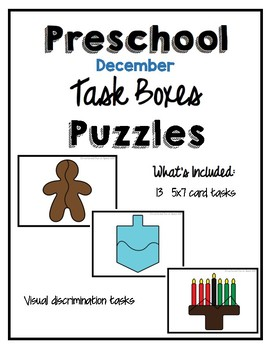 Task Box December Puzzle Cards for Preschool, Pre-K and Special Needs