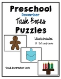 Task Box December Puzzle Cards for Preschool, Pre-K and Sp