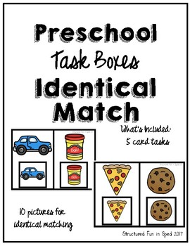 Preschool Task Box Identical Match Set 1 Cards 5x7