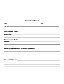 Preschool Teacher Evaluation Form K3 K4