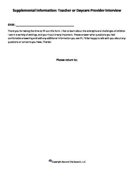 Preschool Teacher Interview for Speech Therapy Assessment