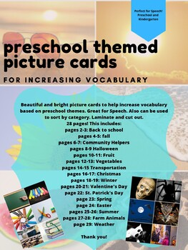 Preschool Thematic Vocabulary Picture Cards