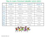 Preschool Theme Calendar