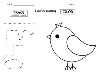 Preschool Trace and Color Assessment 3 yr Olds PRECIOUS PRESCHOOLERS