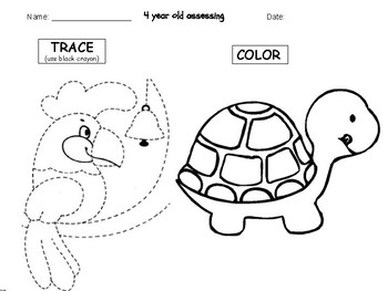 Preschool Trace and Color Assessment 4 yr Olds PRECIOUS PRESCHOOLERS