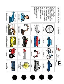 Speech Therapy Spanish Vocabulary: Transportation and Wheels/Transporte y Ruedas
