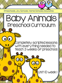 Preschool Unit 10: Baby Animals