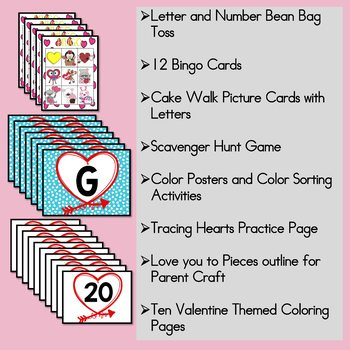Preschool Valentine Party Games with EDITABLE Bingo & Scavenger Hunt