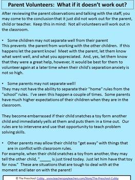 Preschool Volunteer Policy Handbooks