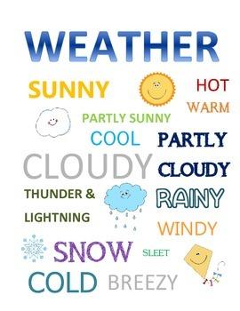 Preschool Weather Words Subway Art