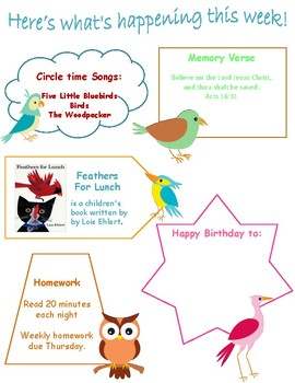Preschool Weekly Activity Pack Birds