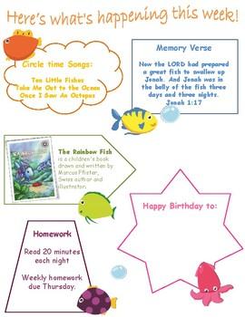 Preschool Weekly Activity Pack Under the Sea