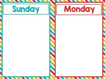 Preschool Weekly Calendar