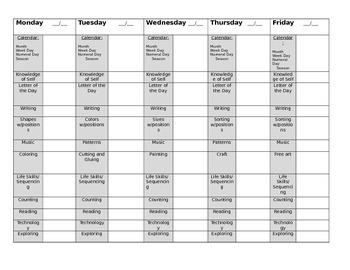 Preschool Weekly Lesson Organizer