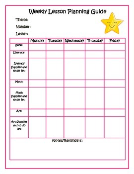 Preschool Weekly Planning Guide