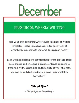 Preschool Weekly Writing - December