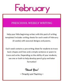 Preschool Weekly Writing - February