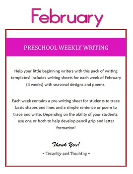 Preschool Weekly Writing - February
