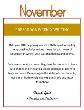 Preschool Weekly Writing - November