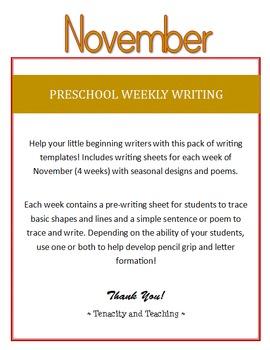 Preschool Weekly Writing - November