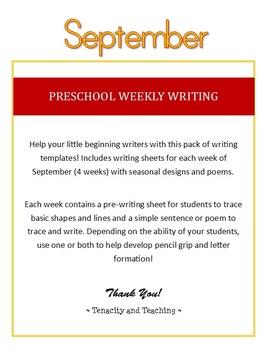 Preschool Weekly Writing - September